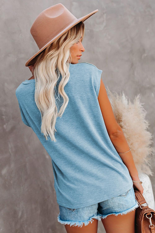 蓝色圆领短袖口袋装饰女士T恤衫 LC2522113