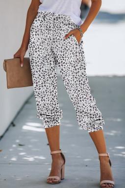 流行时尚豹纹抽绳宽松束脚休闲裤
