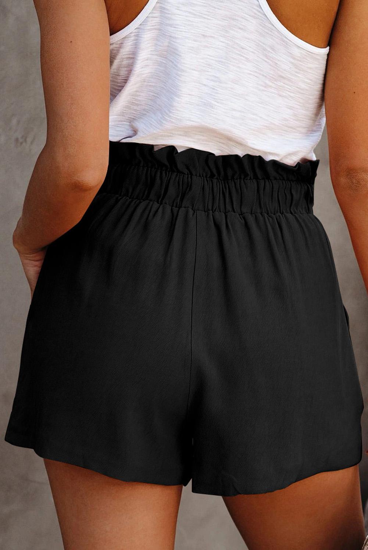 黑色荷叶边绑腰纯色舒适休闲短裤 LC771023