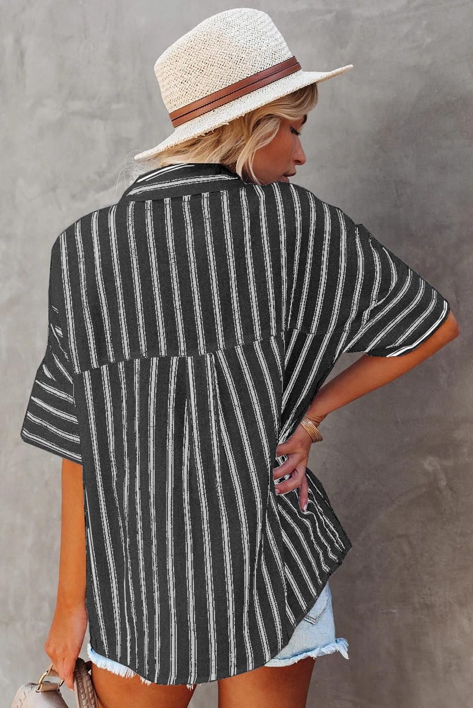 黑色短袖双口袋经典条纹女士衬衫 LC255487