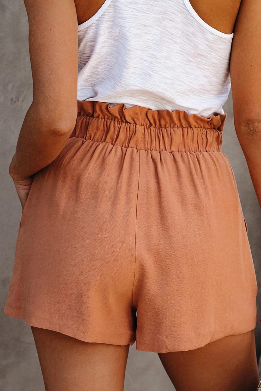 橙色荷叶边绑腰纯色舒适休闲短裤 LC771023