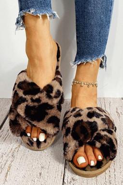 豹纹交叉带毛绒保暖平底拖鞋