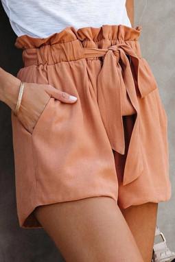 橙色荷叶边绑腰纯色舒适休闲短裤