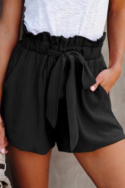 黑色荷叶边绑腰纯色舒适休闲短裤