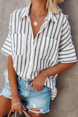 白色短袖双口袋经典条纹女士衬衫