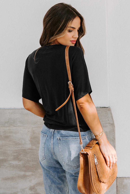 黑色短袖侧绑结裹身V领舒适女士T恤 LC2514103