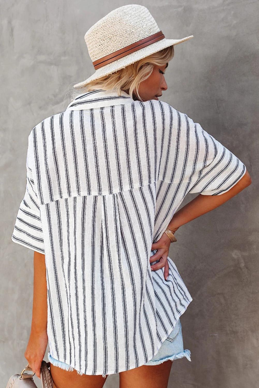 白色短袖双口袋经典条纹女士衬衫 LC255487