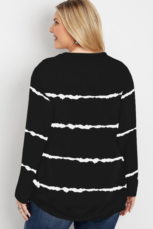 黑色流行扎染条纹圆领长袖女士加大码卫衣 LC253678
