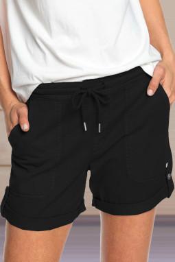 黑色休闲口袋翻边设计抽绳舒适短裤