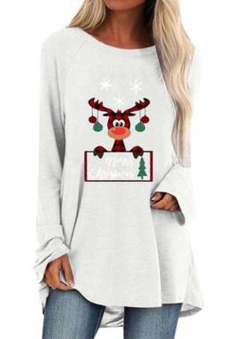 白色圆领可爱麋鹿印花圣诞节宽松长款上衣
