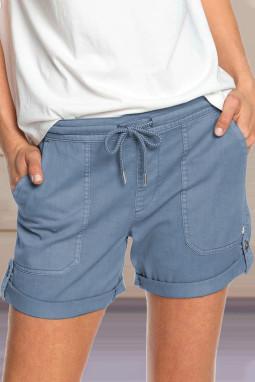 蓝色休闲口袋翻边设计抽绳舒适短裤