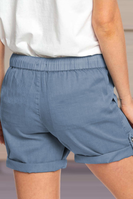 蓝色休闲口袋翻边设计抽绳舒适短裤 LC771038