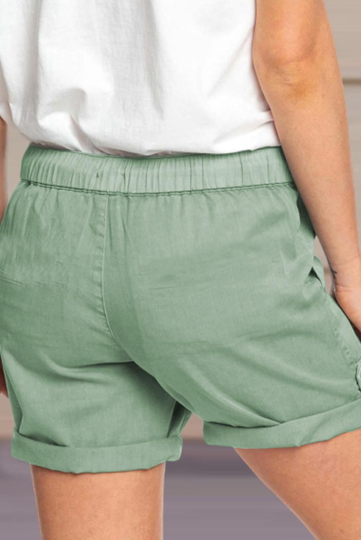 绿色休闲口袋翻边设计抽绳舒适短裤 LC771038