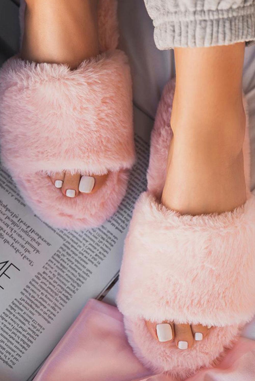 粉色露趾毛绒家居拖鞋 LC12529