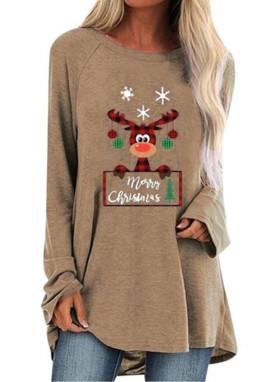 卡其色圆领可爱麋鹿印花圣诞节宽松长款上衣