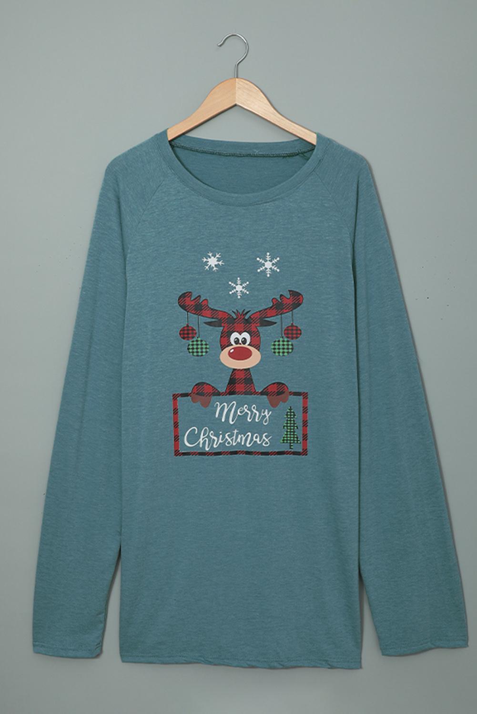 蓝色圆领可爱麋鹿印花圣诞节宽松长款上衣 LC2521676