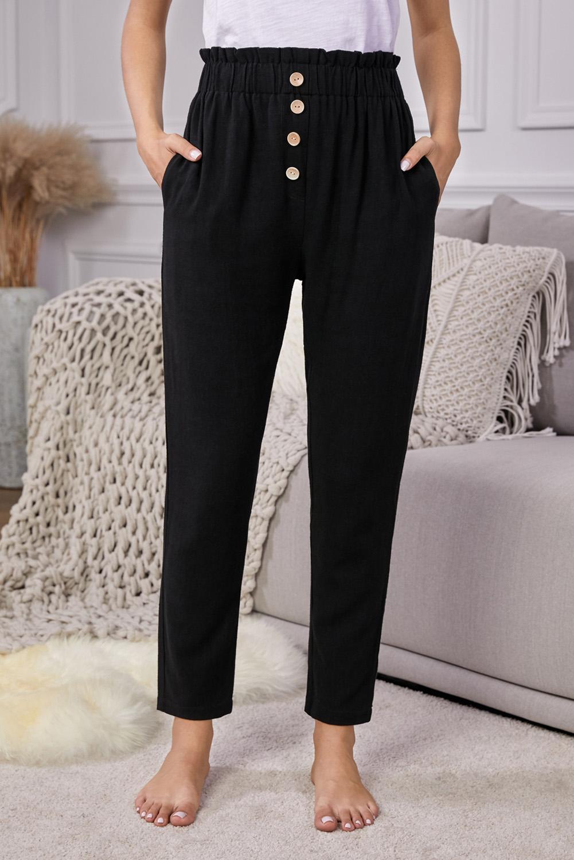 黑色亚麻混纺排扣装饰侧口袋纸袋腰休闲裤 LC77421