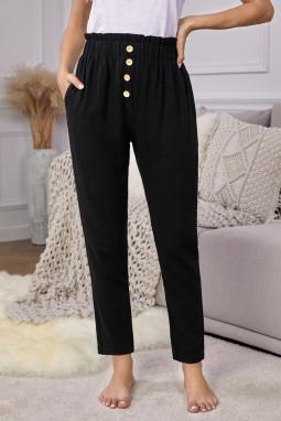 黑色亚麻混纺排扣装饰侧口袋纸袋腰休闲裤