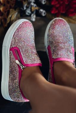 玫红华丽水钻时尚休闲鞋