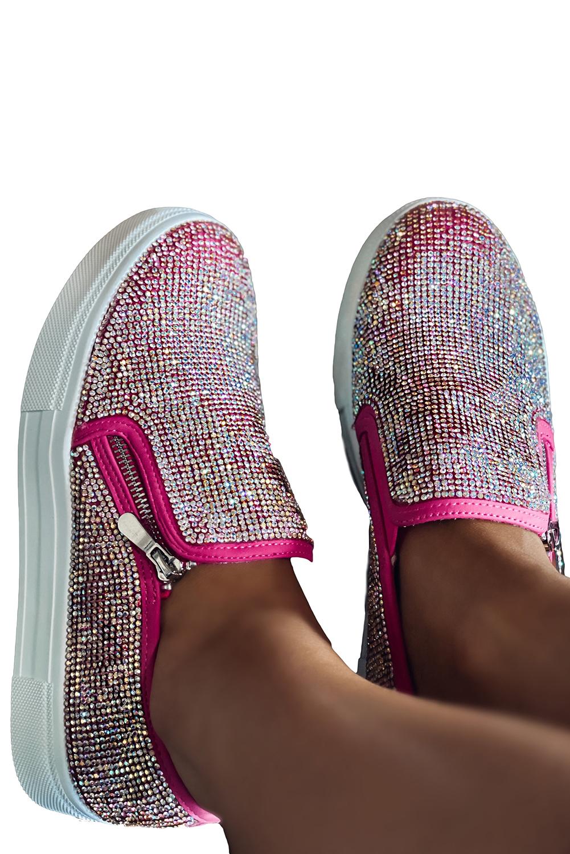 玫红华丽水钻时尚休闲鞋 LC12747