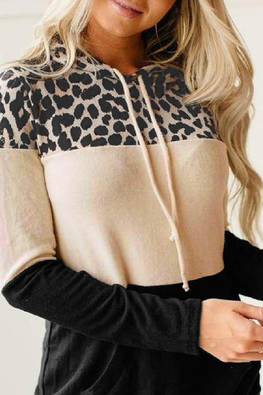 时尚流行豹纹撞色长袖抽绳连帽衫 LC2533334