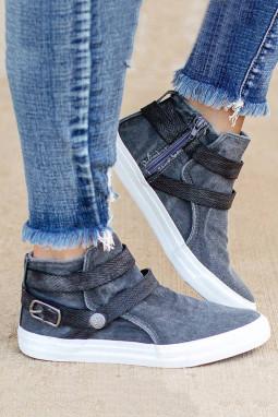 灰色时髦高帮帆布休闲鞋