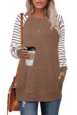 褐色口袋条纹插肩袖圆领宽松休闲女士卫衣