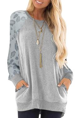 灰色豹纹印花插肩长袖休闲上衣