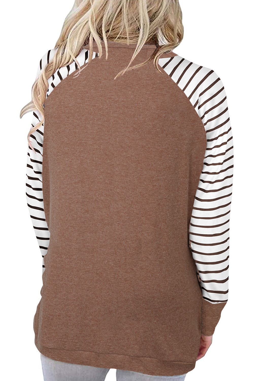 褐色口袋条纹插肩袖圆领宽松休闲女士卫衣 LC2533970