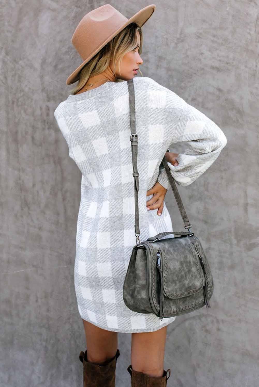 灰色方格花呢圆领气球袖直筒毛线连衣裙 LC222017