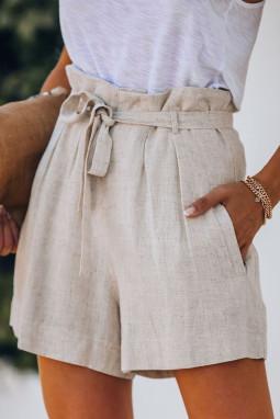 米色绑腰侧口袋宽松休闲短裤