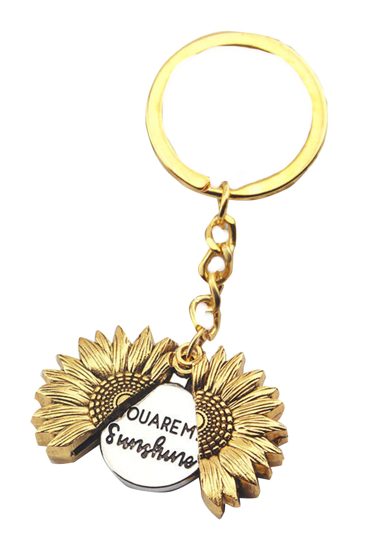 精致字母标语开合向日葵钥匙扣 LC01431