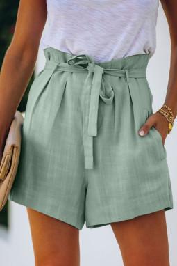 淡绿色绑腰侧口袋宽松休闲短裤