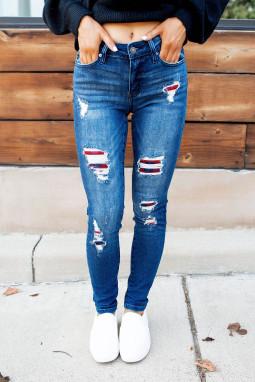 蓝色水洗中腰仿旧格子补丁修身牛仔裤