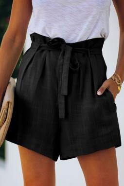 黑色绑腰侧口袋宽松休闲短裤