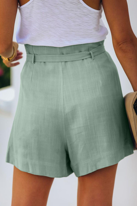 淡绿色绑腰侧口袋宽松休闲短裤 LC77972