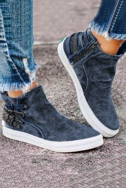 灰蓝色侧面拉链套穿设计休闲运动鞋