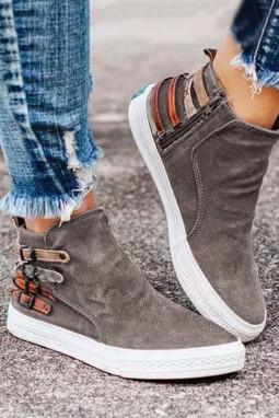 卡其色侧面拉链套穿设计休闲运动鞋