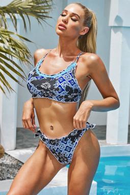 蓝色部落印花波西米亚风优雅两件式比基尼泳装