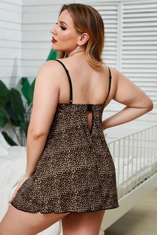 可爱浪漫豹纹蕾丝拼接大码衬裙内衣两件套 LC31325