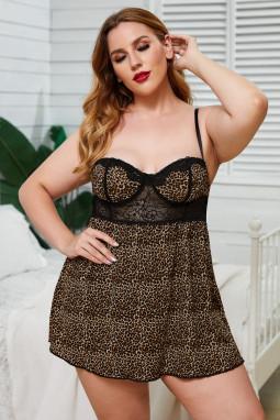 可爱浪漫豹纹蕾丝拼接大码衬裙内衣两件套