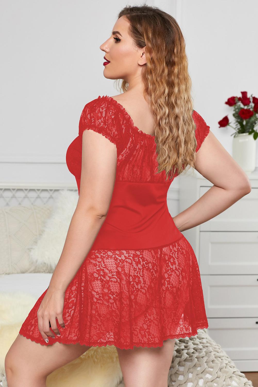 红色蕾丝拼接甜美大码情趣连衣裙 LC31355