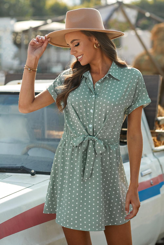绿色流行波点衬衫领短袖迷你连衣裙 LC223441