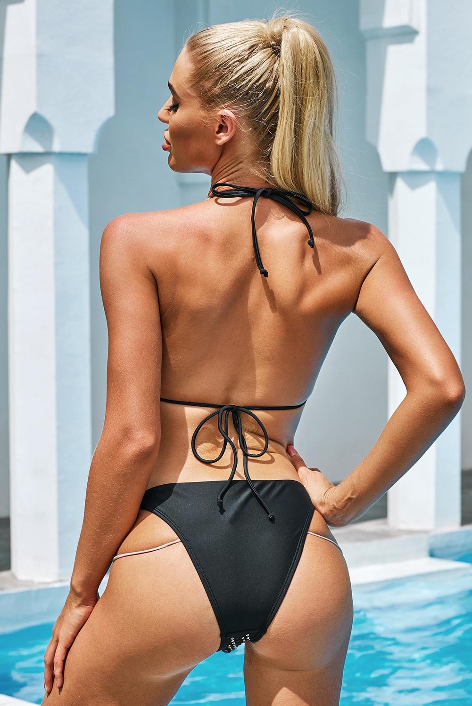 黑色精美水钻挂脖露背比基尼泳装 LC412247