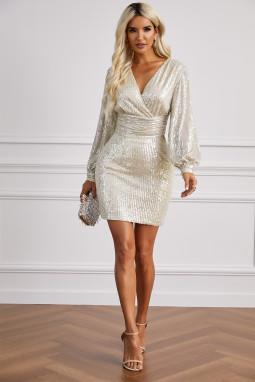 华丽深V领灯笼袖亮片连衣裙
