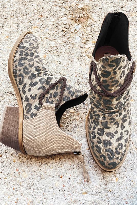 棕色尖头豹纹印花高跟时尚踝靴 LC12622