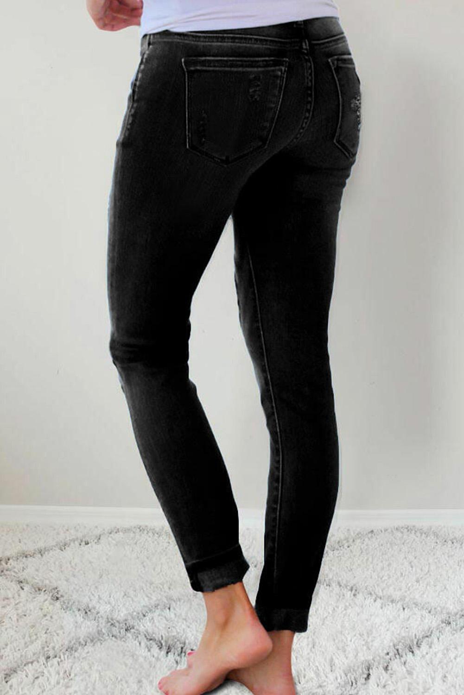 时尚豹纹补丁扣袋高腰黑色修身牛仔裤 LC78745