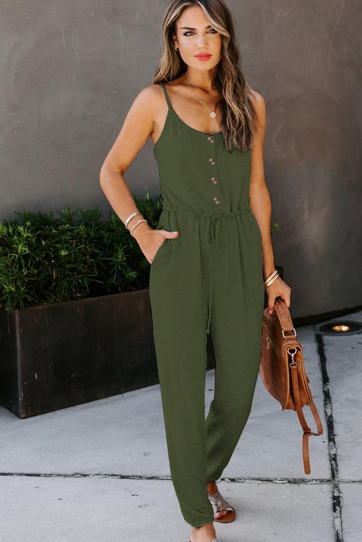 绿色时尚舒适纽扣装饰口袋吊带针织连衣裤 LC641368