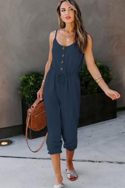 深蓝色时尚舒适纽扣装饰口袋吊带针织连衣裤