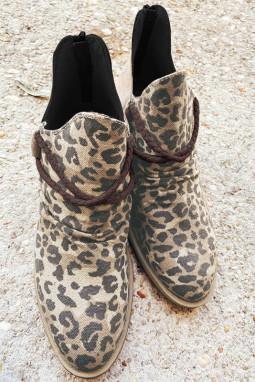棕色尖头豹纹印花高跟时尚踝靴